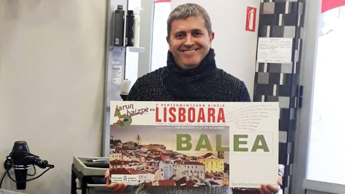 Juankar Unanua igantziarrak irabazi du Berako merkatariek zozketatutako Lisboarako bidaia