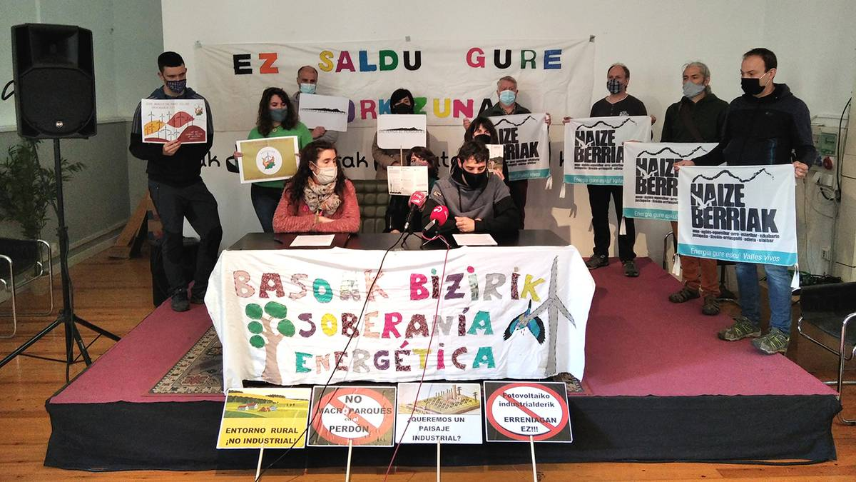 Haize- eta eguzki-poligonoen aurkako manifestua sinatu dute Nafarroako hainbat erakundek