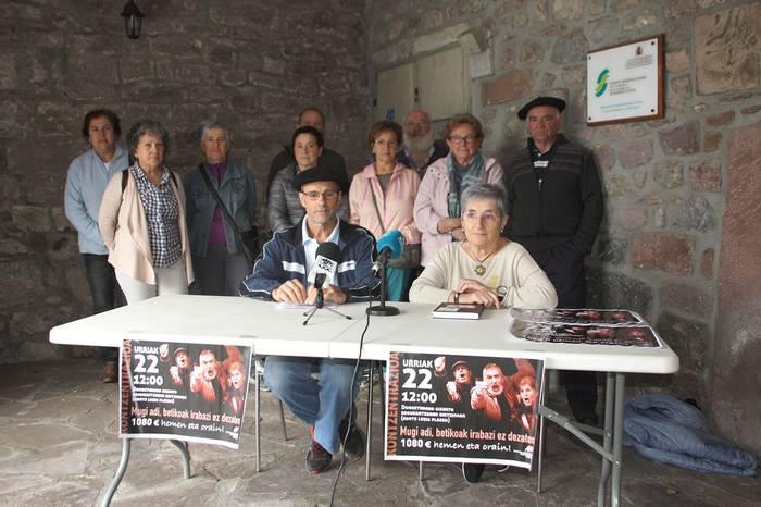 Pentsioen defentsan elkarretaratzea deitu du urriaren 22an Donezteben Baztan-Bidasoko Pentsionistak Martxan elkarteak